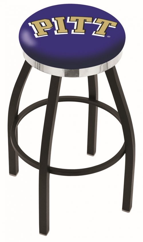 "Pittsburgh Panthers (L8B2C) 30"" Tall Logo Bar Stool by Holland Bar Stool Company (with Single Ring Swivel Black Solid Welded Base)"