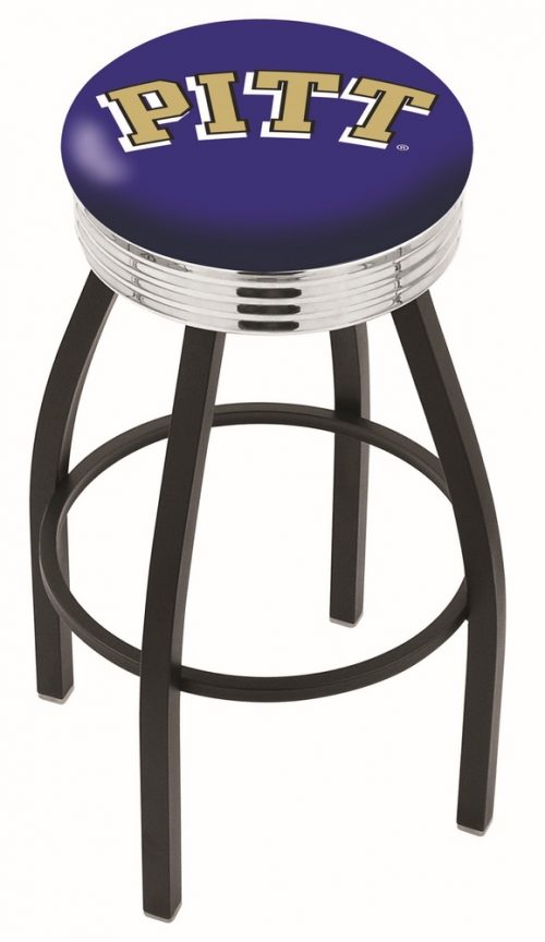 "Pittsburgh Panthers (L8B3C) 30"" Tall Logo Bar Stool by Holland Bar Stool Company (with Single Ring Swivel Black Solid Welded Base)"