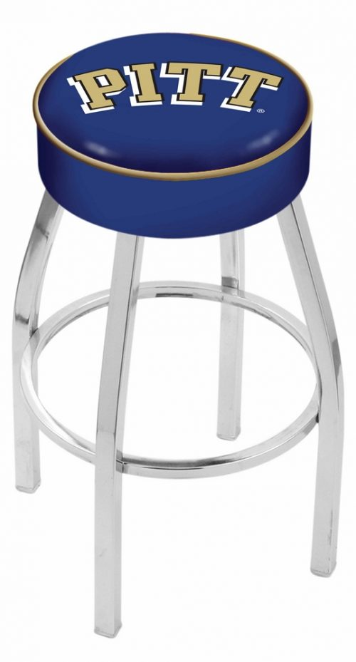 "Pittsburgh Panthers (L8C1) 25"" Tall Logo Bar Stool by Holland Bar Stool Company (with Single Ring Swivel Chrome Solid Welded Base)"