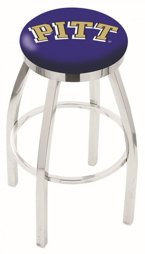 "Pittsburgh Panthers (L8C2C) 25"" Tall Logo Bar Stool by Holland Bar Stool Company (with Single Ring Swivel Chrome Solid Welded Base)"