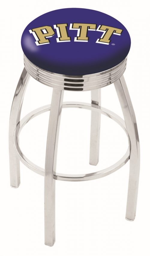 "Pittsburgh Panthers (L8C3C) 30"" Tall Logo Bar Stool by Holland Bar Stool Company (with Single Ring Swivel Chrome Solid Welded Base)"