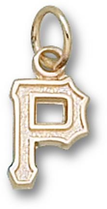 "Pittsburgh Pirates ""P"" 3/8"" Charm - 14KT Gold Jewelry"
