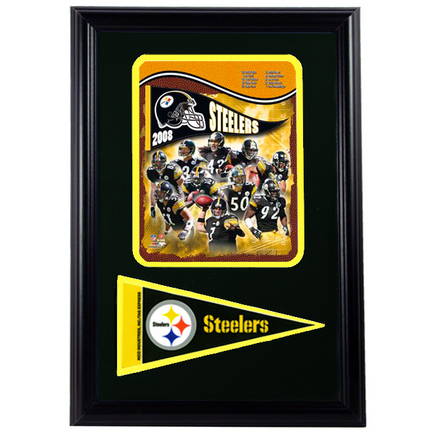 "Pittsburgh Steelers 2008 Photograph with Team Pennant in a 12"" x 18"" Deluxe Frame"