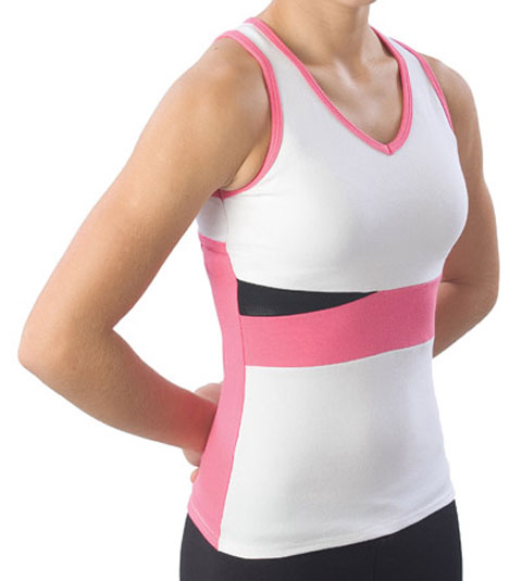 Pizzazz Performance Wear 5700 -WHTHPK-YXS 5700 Youth Panel Top with Keyhole - White with Pink - Youth X-Small