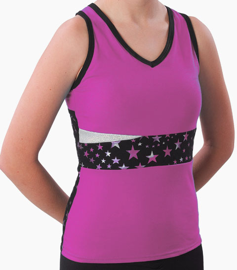 Pizzazz Performance Wear 5700SS -HPK -YXS 5700SS Youth Superstar Panel Top with Keyhole - Hot Pink - Youth X-Small
