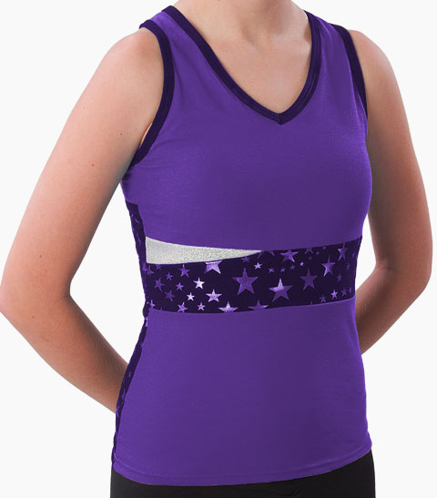 Pizzazz Performance Wear 5700SS -PUR -YXS 5700SS Youth Superstar Panel Top with Keyhole - Purple - Youth X-Small