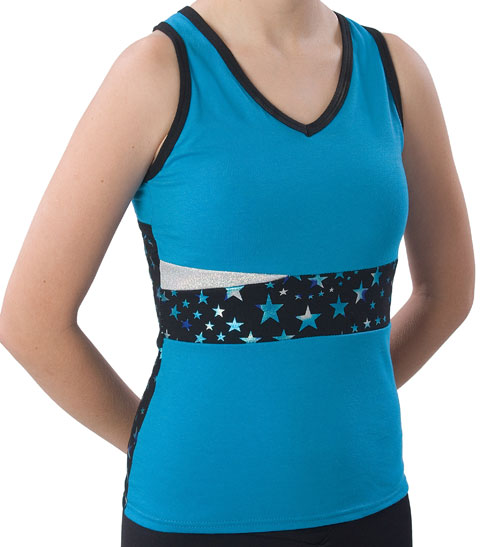 Pizzazz Performance Wear 5800SS -TRQ -AL 5800SS Adult Superstar Panel Top with Keyhole - Turquoise - Adult Large