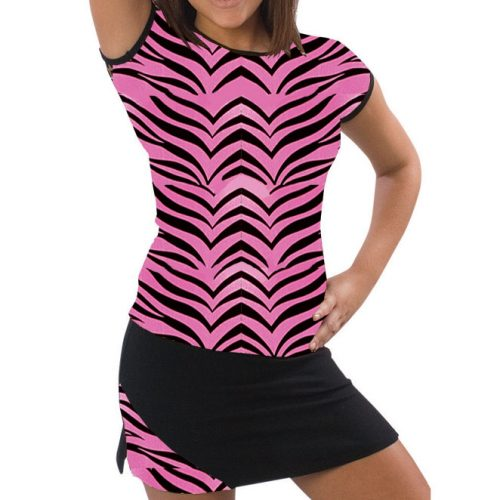 Pizzazz Performance Wear 6700AP -HPZ -YS 6700AP Youth Animal Print Cap Sleeve Tee - Hot Pink Zebra - Youth Small
