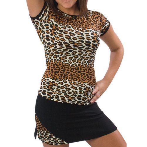 Pizzazz Performance Wear 6800AP -LEP -AM 6800AP Adult Animal Print Cap Sleeve Tee - Leopard - Adult Medium