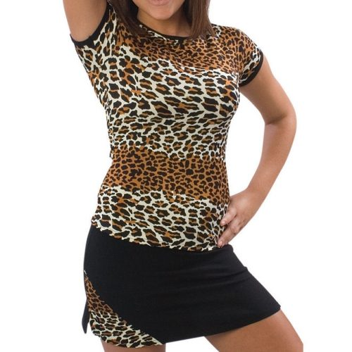 Pizzazz Performance Wear 6800AP -LEP -AS 6800AP Adult Animal Print Cap Sleeve Tee - Leopard - Adult Small