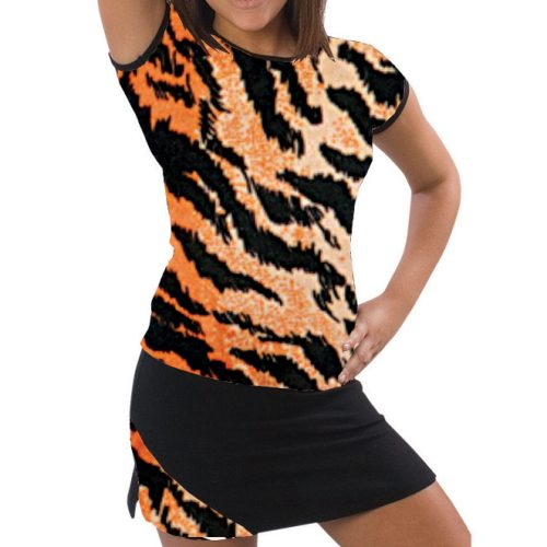Pizzazz Performance Wear 6800AP -TIG -AL 6800AP Adult Animal Print Cap Sleeve Tee - Tiger - Adult Large