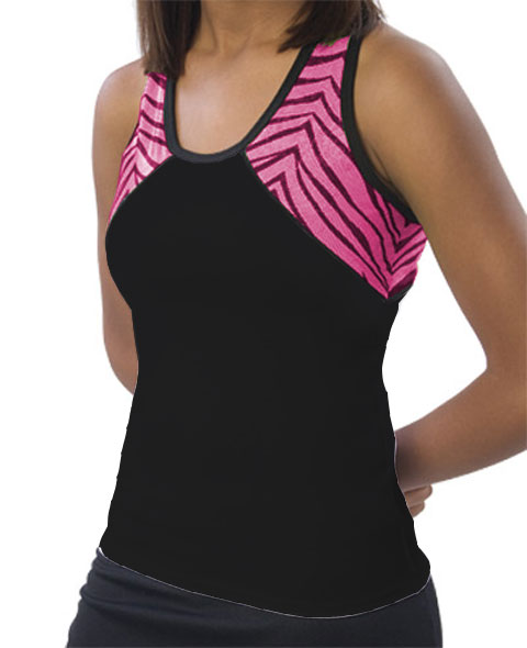 Pizzazz Performance Wear 7700ZGBLKHPKYM 7700ZG Youth Zebra Glitter Tri-Color Top - Black with Hot Pink - Youth Medium