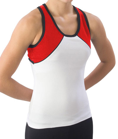 Pizzazz Performance Wear 7800 -WHTRED-AM 7800 Adult Tri-Color Top - White with Red - Adult Medium