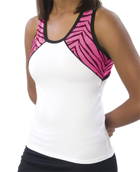Pizzazz Performance Wear 7800ZGWHTHPK2XL 7800ZG Adult Zebra Glitter Tri-Color Top - White with Pink - 2XL
