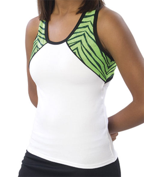 Pizzazz Performance Wear 7800ZGWHTLIM2XL 7800ZG Adult Zebra Glitter Tri-Color Top - White with Lime - 2XL