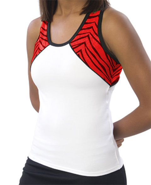 Pizzazz Performance Wear 7800ZGWHTRED2XL 7800ZG Adult Zebra Glitter Tri-Color Top - White with Red - 2XL