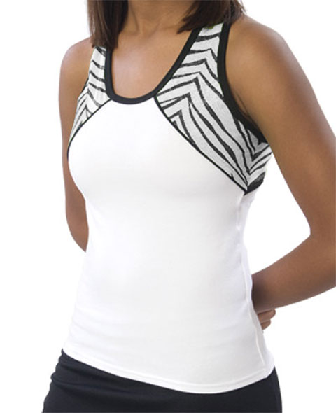 Pizzazz Performance Wear 7800ZGWHTZEB2XL 7800ZG Adult Zebra Glitter Tri-Color Top - White with Zebra - 2XL