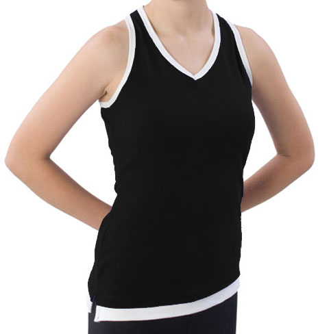 Pizzazz Performance Wear 8700 -BLKWHT-YXS 8700 Youth Layered Look Top - Black with White - Youth X-Small
