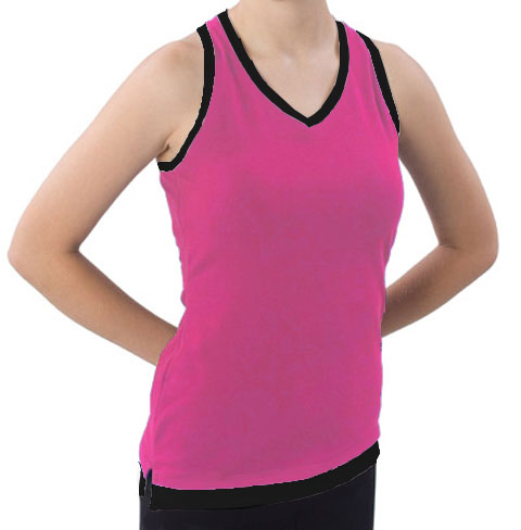 Pizzazz Performance Wear 8700 -HPKBLK-YM 8700 Youth Layered Look Top - Hot Pink with Black - Youth Medium