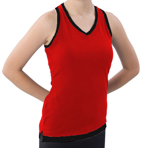 Pizzazz Performance Wear 8700 -REDBLK-YXS 8700 Youth Layered Look Top - Red with Black - Youth X-Small