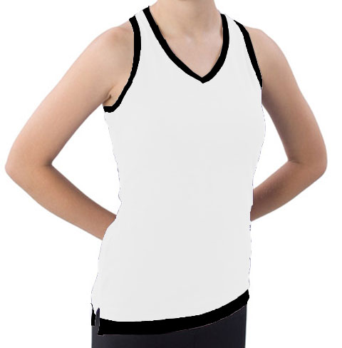 Pizzazz Performance Wear 8700 -WHTBLK-YM 8700 Youth Layered Look Top - White with Black - Youth Medium