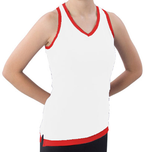 Pizzazz Performance Wear 8700 -WHTRED-YM 8700 Youth Layered Look Top - White with Red - Youth Medium