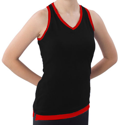 Pizzazz Performance Wear 8800 -BLKRED-AM 8800 Adult Layered Look Top - Black with Red - Adult Medium
