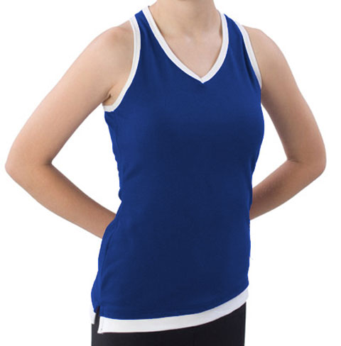 Pizzazz Performance Wear 8800 -NAVWHT-AS 8800 Adult Layered Look Top - Navy with White - Adult Small