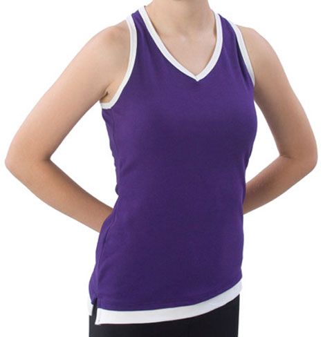 Pizzazz Performance Wear 8800 -PURWHT-AM 8800 Adult Layered Look Top - Purple with White - Adult Medium