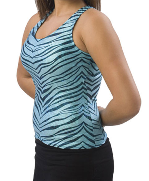 Pizzazz Performance Wear 9300ZGTRQBLKYXS 9300ZG Youth Zebra Glitter Racer Back Top - Turquoise with Black - Youth X-Small