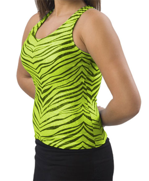 Pizzazz Performance Wear 9400ZGLIMBLKAS 9400ZG Adult Zebra Glitter Racer Back Top - Lime with Black - Adult Small