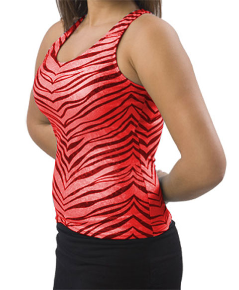 Pizzazz Performance Wear 9400ZGREDBLKAL 9400ZG Adult Zebra Glitter Racer Back Top - Red with Black - Adult Large