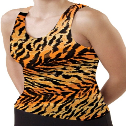 Pizzazz Performance Wear 9700AP -TIG -YL 9700AP Youth Animal Print Racer Back Top - Tiger - Youth Large