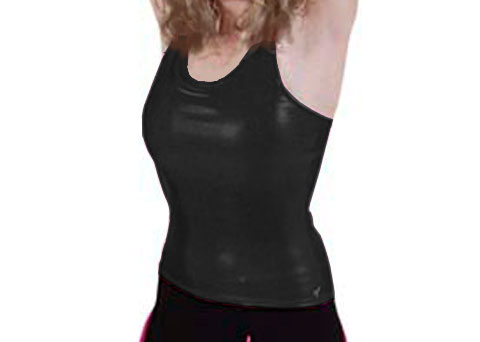 Pizzazz Performance Wear 9700M -BLK -YM 9700M Youth Metallic Racer Back Top - Black - Youth Medium
