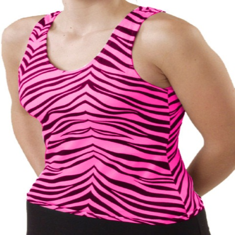 Pizzazz Performance Wear 9800AP -HPZ -AS 9800AP Adult Animal Print Racer Back Top - Hot Pink Zebra - Adult Small
