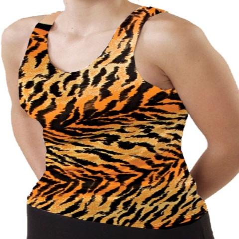 Pizzazz Performance Wear 9800AP -TIG -AL 9800AP Adult Animal Print Racer Back Top - Tiger - Adult Large