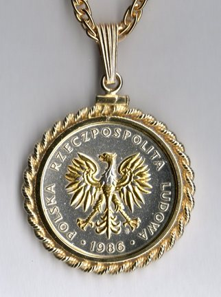 "Polish 5 Zlotych ""Eagle"" Two Tone Rope Bezel Coin on 18"" Chain"