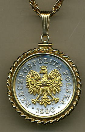 "Polish 50 Zlotych ""Eagle"" Two Tone Gold Filled Rope Bezel Coin Pendant with 24"" Chain"