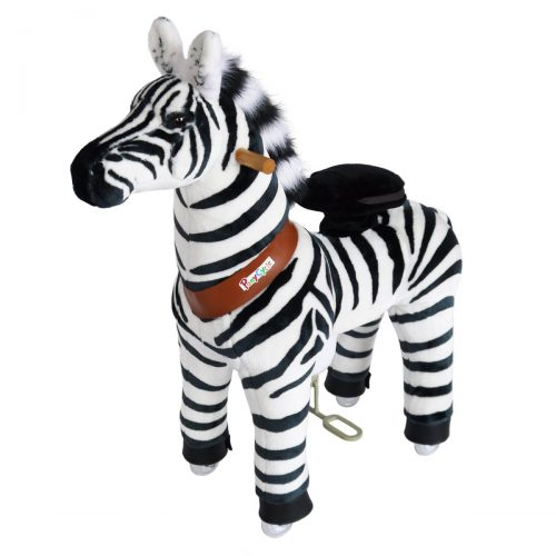 PonyCycle N3012 Plush Ride On Horse Toy Zebra-Small White