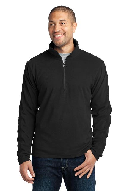 Port Authority F224 Microfleece 1 by 2-Zip Pullover Black - Extra Large