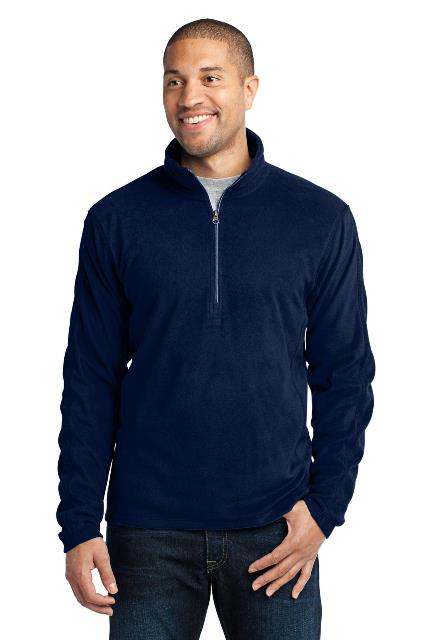 Port Authority F224 Microfleece 1 by 2-Zip Pullover True Navy - Extra Small