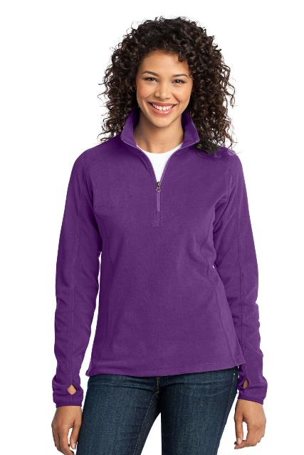 Port Authority L224 Ladies Microfleece 1 by 2-Zip Pullover Amethyst Purple - Extra Large