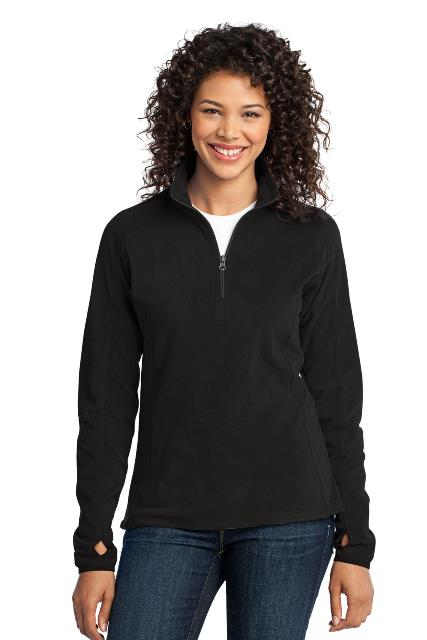 Port Authority L224 Ladies Microfleece 1 by 2-Zip Pullover Black - Extra Small