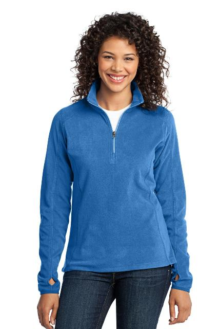 Port Authority L224 Ladies Microfleece 1 by 2-Zip Pullover Light Royal - Extra Large