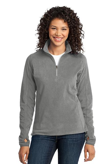 Port Authority L224 Ladies Microfleece 1 by 2-Zip Pullover Pearl Grey - Extra Small