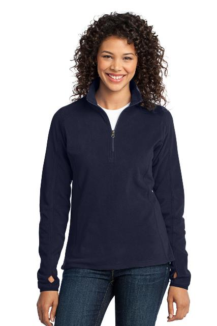 Port Authority L224 Ladies Microfleece 1 by 2-Zip Pullover True Navy - Extra Small
