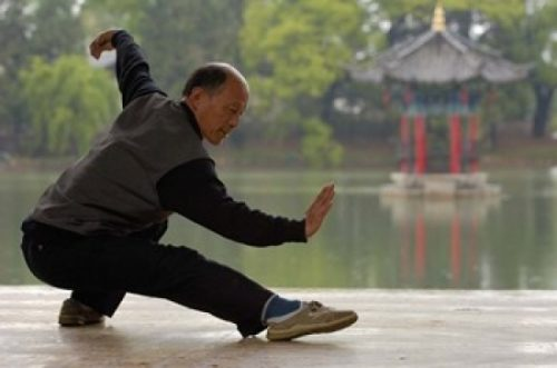 Posterazzi PDDAS07POX0132 Man Doing Tai Chi Exercises at Black Dragon Pool with One-Cent Pavilion Lijiang Yunnan Province China Print by Pete