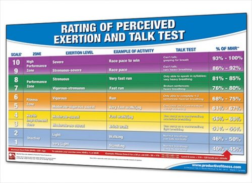 Productive Fitness CRPEL Rating of Perceived Exertion and Talk Test - Laminated