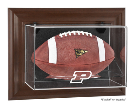 Purdue Boilermakers Brown Framed Wall Mountable Logo Football Display Case