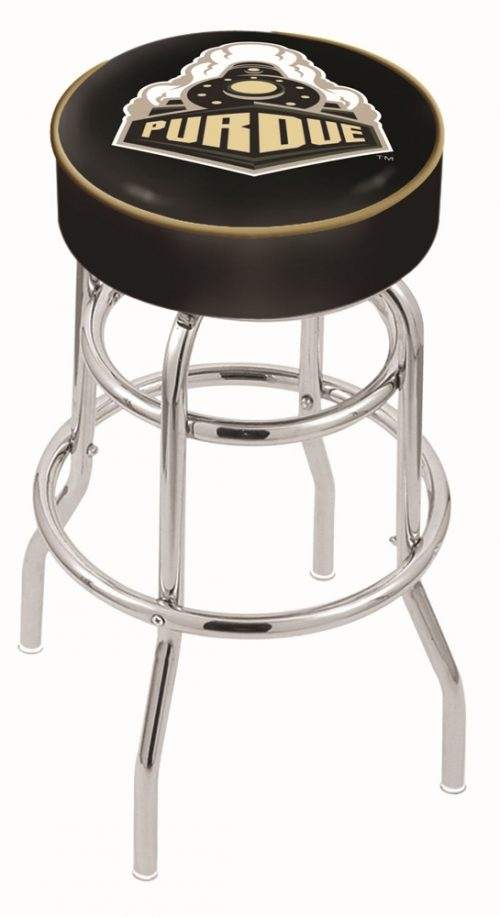 "Purdue Boilermakers (L7C1) 25"" Tall Logo Bar Stool by Holland Bar Stool Company (with Double Ring Swivel Chrome Base)"